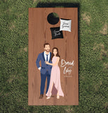 Miss Design Berry cornhole board Wedding Cornhole Board Set with Couple Portrait