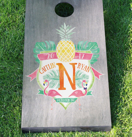 Miss Design Berry cornhole board Wedding Cornhole Board Set with Custom Watercolor Crest