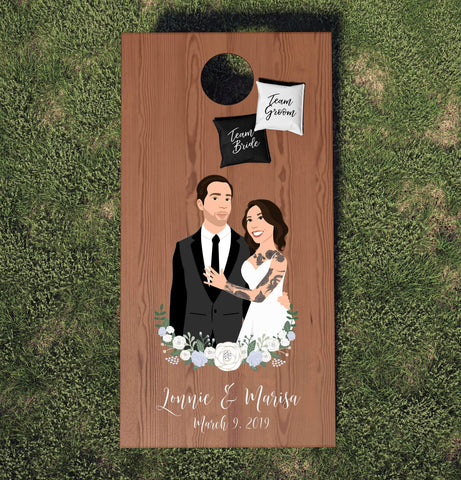 Miss Design Berry cornhole board Wedding Cornhole Board Set with Half Couple Portrait