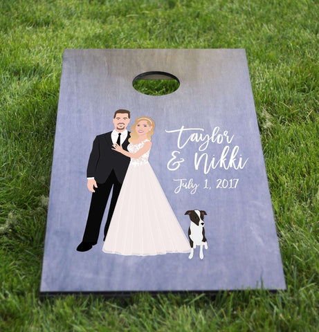 Miss Design Berry cornhole board Wedding Cornhole Board with Couple Portrait