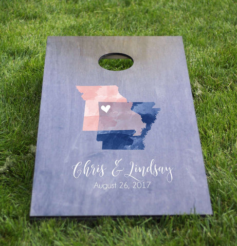 Miss Design Berry cornhole board Wedding Cornhole Board with Watercolor States