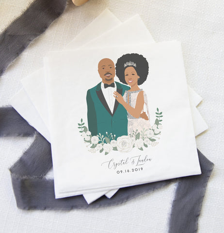 Miss Design Berry Couple Portrait Wedding Napkins