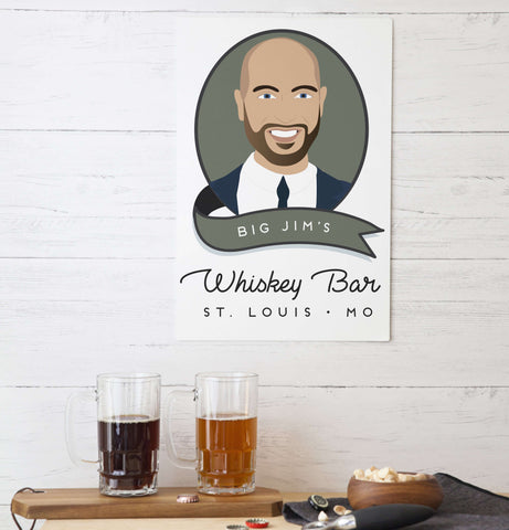 Miss Design Berry Custom Portrait Aluminum Sign for Bar or Cigar Bar