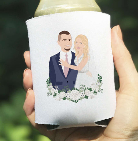 Miss Design Berry Custom Portrait Wedding Coozies - Can Cooler Wedding Favor Koozies