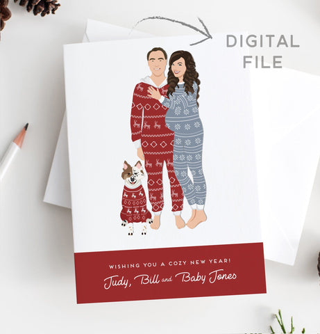Miss Design Berry Digital Card Christmas Pajamas Pregnancy Portrait Holiday Card - Digital