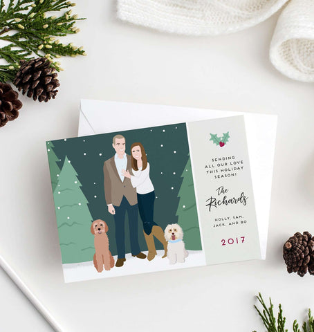 Miss Design Berry Digital Card Digital - Couple Portrait Holiday Card