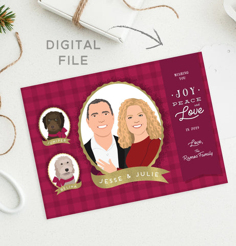 Miss Design Berry Digital Card Digital - Family Portrait Holiday Card - Plaid