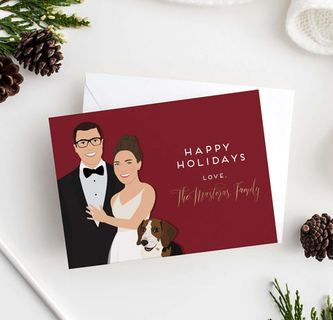 Miss Design Berry Digital Card Digital - Newlyweds Portrait Holiday Card