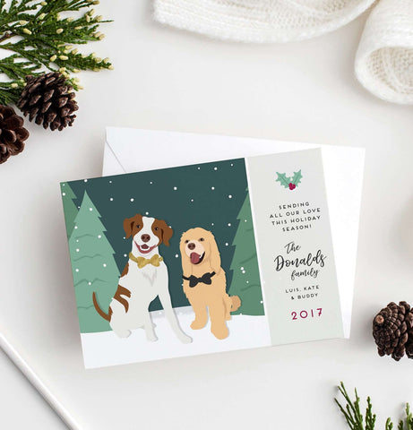 Miss Design Berry Digital Card Digital - Pet Portrait Holiday Card