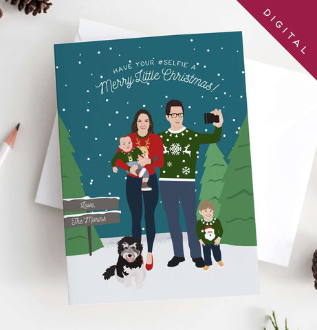 Miss Design Berry Digital Card Holiday Card with Family Ugly Christmas Sweaters Portrait Digital