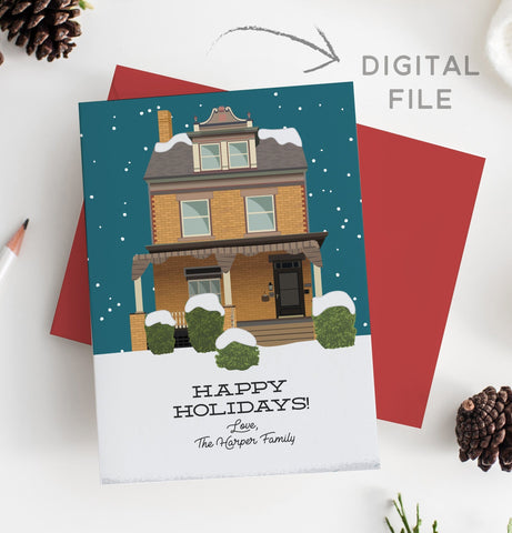 Miss Design Berry Digital Card Holiday Card with House Portrait Illustration - DIGITAL
