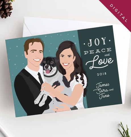 Miss Design Berry Digital Card Holiday Cards with Couple Portrait