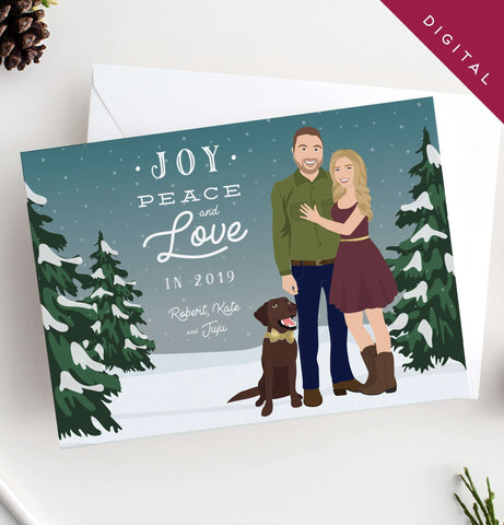 Miss Design Berry Digital Card Holiday Cards with Couple Portrait in Snow
