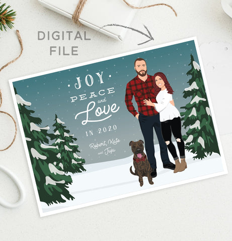Miss Design Berry Digital Card Holiday Cards with Couple Portrait in Snow -DIGITAL