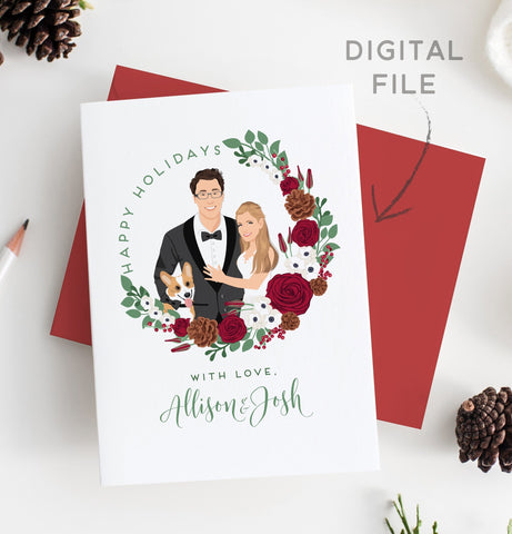 Miss Design Berry Digital Card Holiday Cards with Couple Portrait in Wreath - DIGITAL