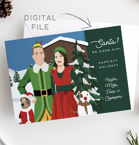 Miss Design Berry Digital Card Holiday Cards with Themed Couple Portrait - DIGITAL