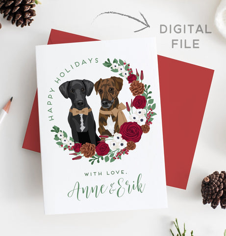 Miss Design Berry Digital Card Pet Portrait Holiday Card with Wreath - DIGITAL
