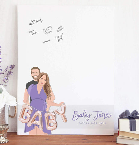 Miss Design Berry Digital Guest Book Digital - Baby Shower Couple Portrait Guest Book Alternative