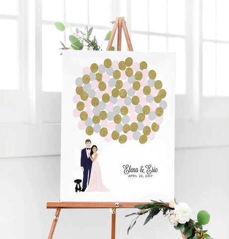 Miss Design Berry Digital Guest Book Digital - Balloon Couple Portrait Guest Book Alternative
