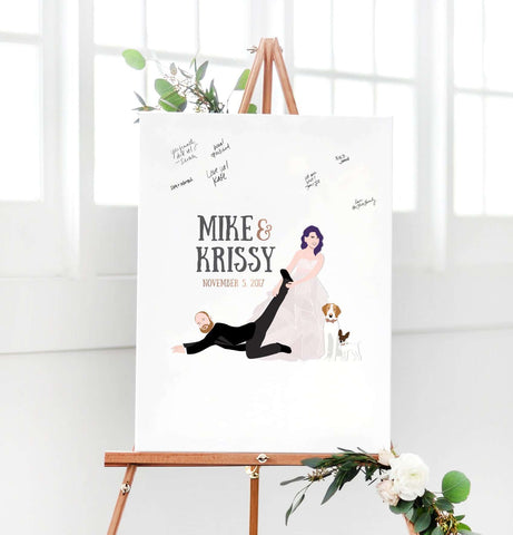Miss Design Berry Digital Guest Book Digital - Dragging Couple Portrait Guest Book Alternative