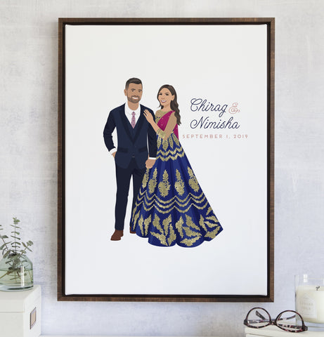 Miss Design Berry Digital Guest Book Digital - Indian Couple Portrait Guest Book Alternative