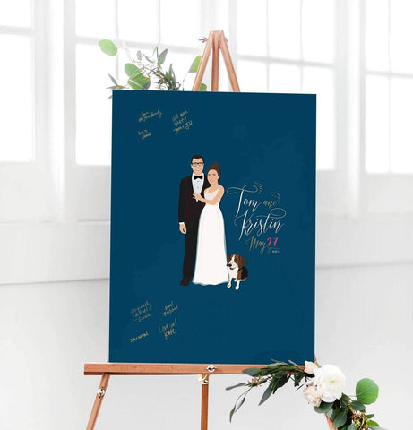 Miss Design Berry Digital Guest Book Digital - Navy and Gold Couple Portrait Guest Book Alternative