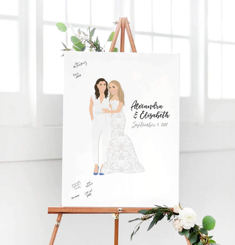 Miss Design Berry Digital Guest Book Digital  - Two Brides Portrait Guest Book Alternative