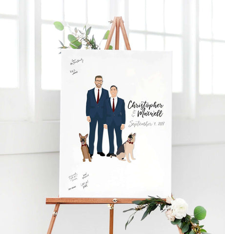Miss Design Berry Digital Guest Book Digital - Two Grooms Portrait Guest Book Alternative