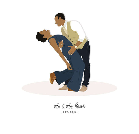 Miss Design Berry Digital Portrait Digital - Wedding Gift for Couple - Custom Pose Portrait Artwork