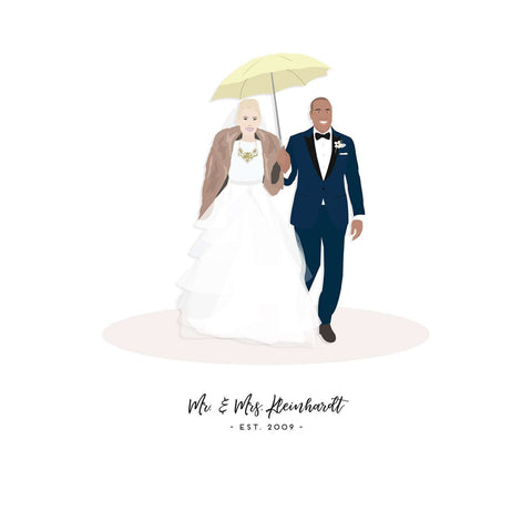 Miss Design Berry Digital Portrait Digital - Wedding Gift for Couple - Custom Wedding Portrait Artwork