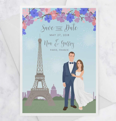 Miss Design Berry Digital Save the Dates Digital - Wedding Save the Date Postcard with Couple Portrait and Venue
