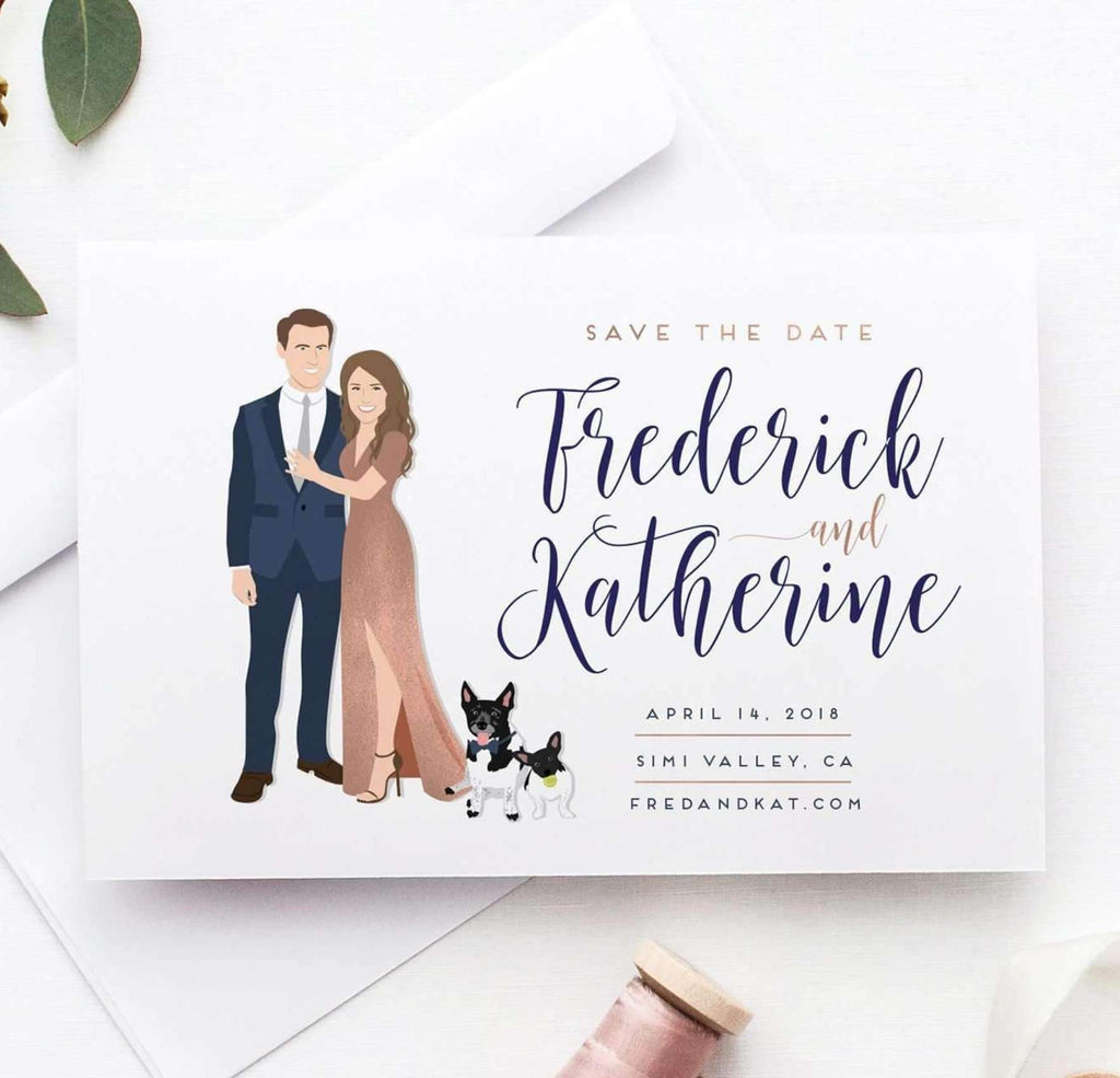 Matching Save The Date And Wedding Invitations: Wedding Save The Date With Couple Portrait