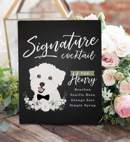 Miss Design Berry Digital Sign Digital - Chalkboard Signature Cocktail Wedding Sign - Pet Portrait