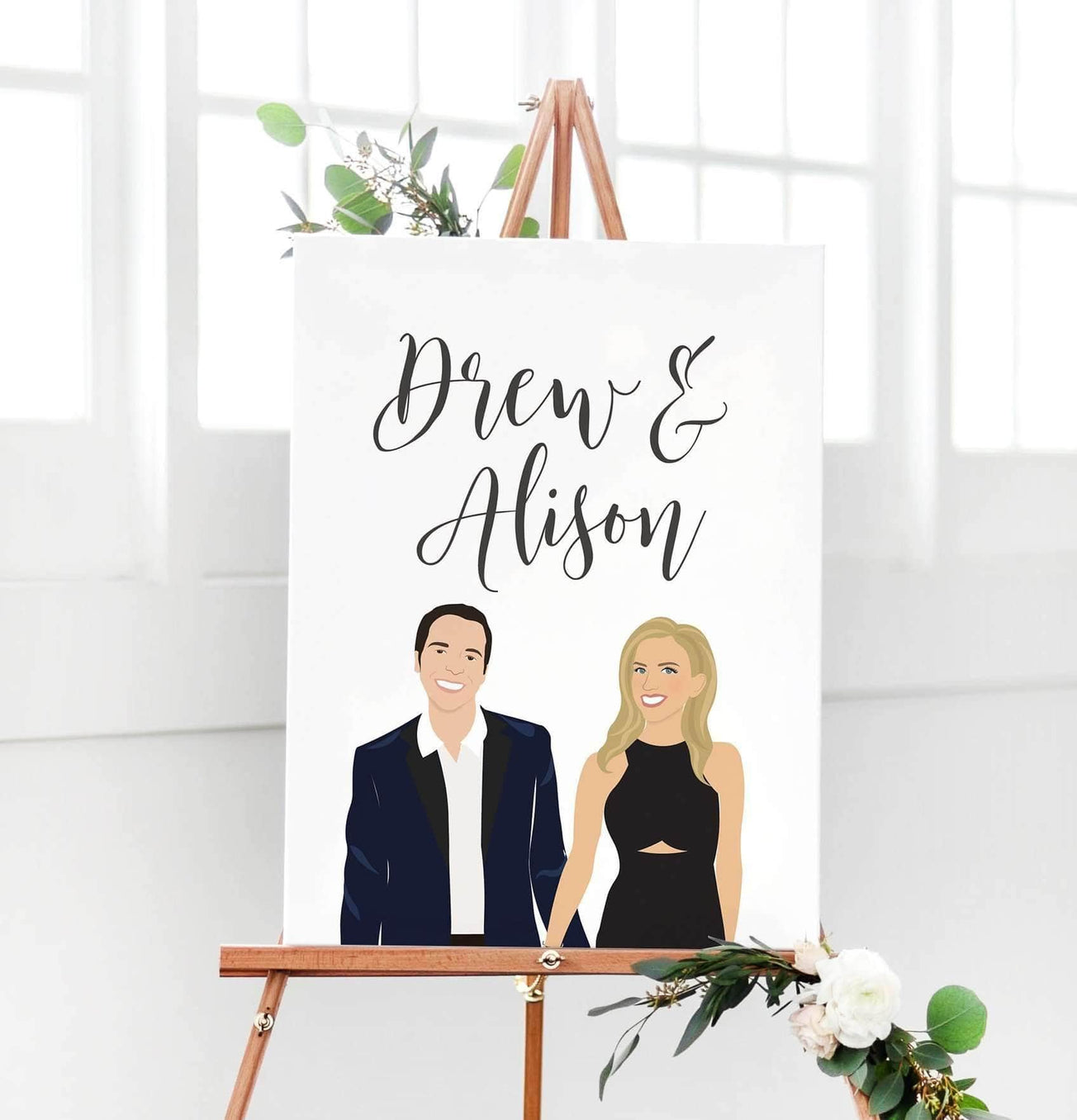 Wedding Welcome Sign.Digital Modern Portrait Wedding Welcome Sign