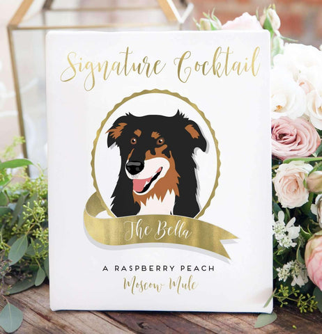 Miss Design Berry Digital Sign Digital - Signature Cocktail Wedding Sign - Pet Portrait