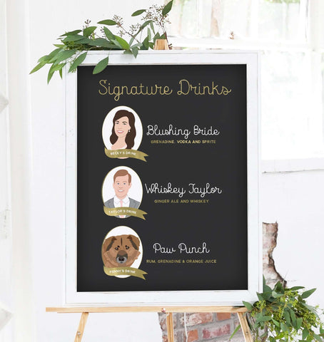 Miss Design Berry Digital Sign Digital - Signature Cocktail Wedding Sign - Three Portraits