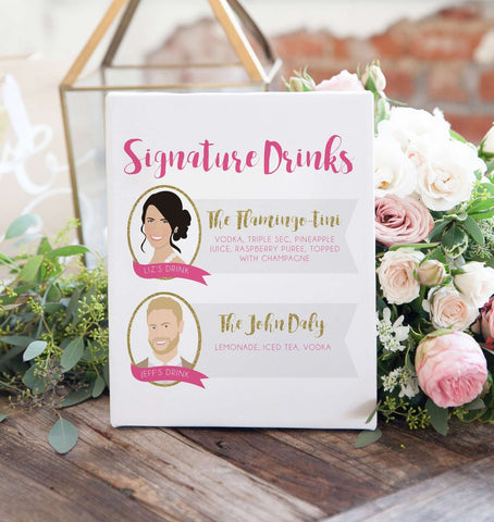 Miss Design Berry Digital Sign Digital - Signature Cocktail Wedding Sign - Two Portraits