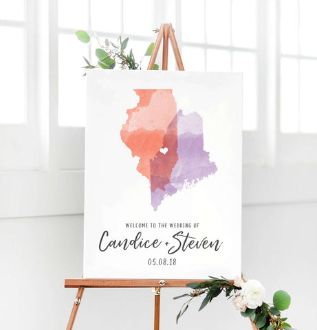 Miss Design Berry Digital Sign Digital - Watercolor States Wedding Welcome Sign