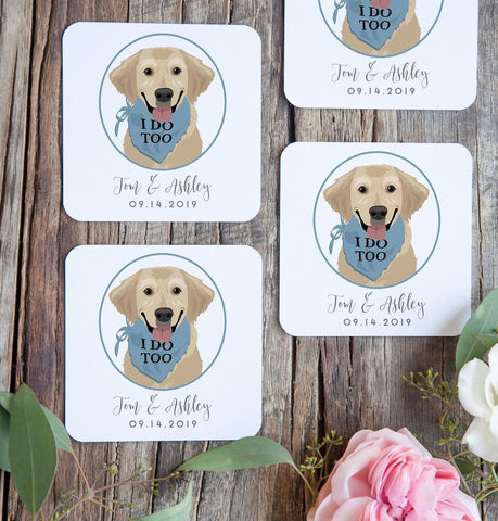 Miss Design Berry Dog of Honor Portrait Cocktail Coasters