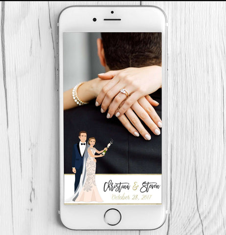 Miss Design Berry Filter Wedding Snapchat Filter with Couple Portrait - Champagne Pop