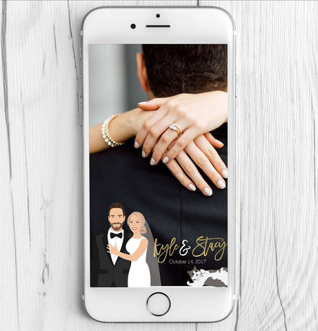 Miss Design Berry Filter Wedding Snapchat Filter with Couple Portrait - Close Up Portrait