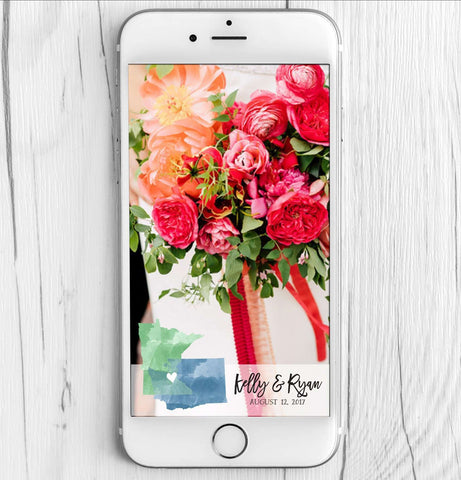 Miss Design Berry Filter Wedding Snapchat Filter with Watercolor States - StateLove