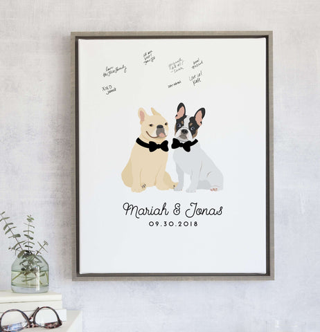 Miss Design Berry Fun Wedding Guest Book Alternative with Two Pets