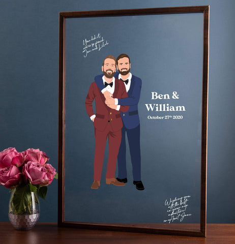 Miss Design Berry Guest Book Alternative Acrylic Wedding Guest Book Alternative with Couple Portrait