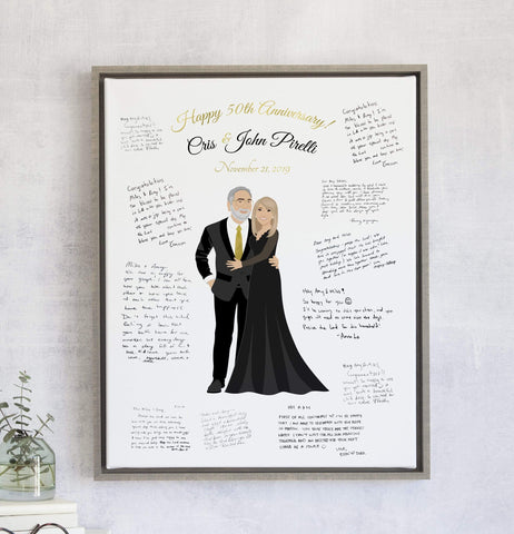Anniversary Guest Book Alternative with Couple Portrait Miss Design Berry
