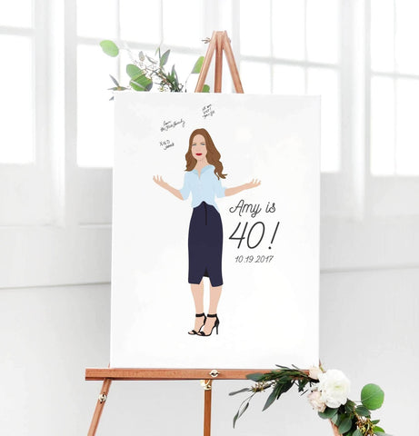 Miss Design Berry Guest Book Alternative Birthday Portrait Guest Book Alternative - 40th Birthday Party