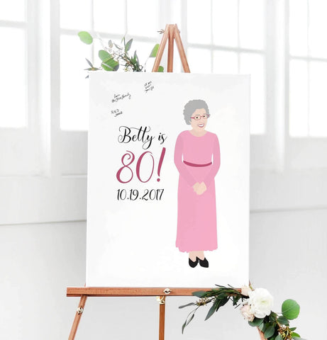 Miss Design Berry Guest Book Alternative Birthday Portrait Guest Book Alternative - 80th Birthday Party