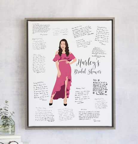 Bridal Shower Guest Book Alternative with Bride-to-Be Portrait Miss Design Berry