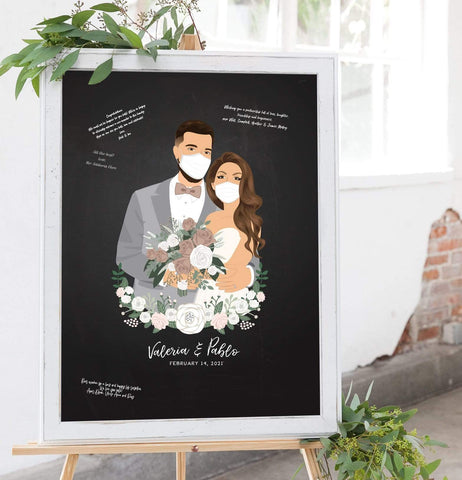 Chalkboard Wedding Guest Book Alternative with Couple Portrait - COVID Edition Miss Design Berry