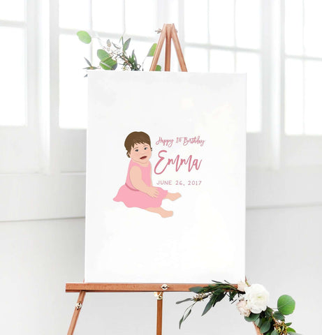 Miss Design Berry Guest Book Alternative First Birthday Portrait Guest Book Alternative - 1st Birthday Party